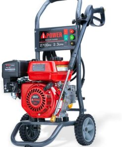A-iPower APW2700C Gas Powered Pressure Washer 2700 PSI and 2.3 GPM 7HP with 3 Nozzle Attachments, CARB Compliant, Red Aurora CO