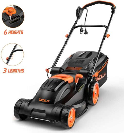 """TACKLIFE Lawn Mower, 14-Inch, 10 Amp Electric Lawn Mower, 6 Central Adjustable Heights (0.98""""-2.95""""), 3 Adjustable Handle Length, Easy Control, Tool-Free Installation, 10.5Gal Grass Box – KALM12A Aurora CO"""